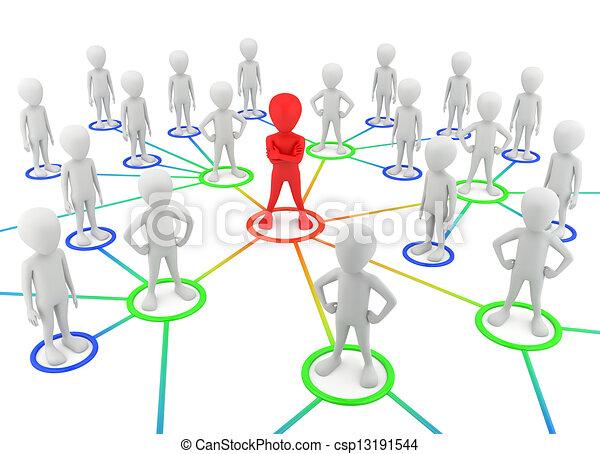 3D personas pequeñas - socios de la red. - csp13191544