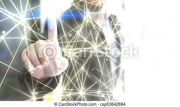 network., společnost, abstraktní, connected., technika - csp53642694