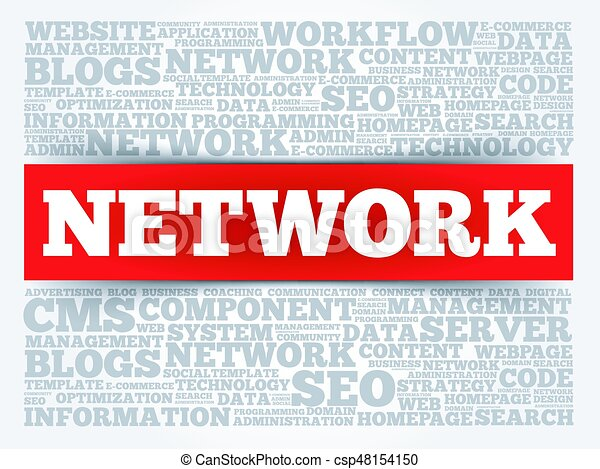 network word cloud, business concept clipart vector - search, Powerpoint templates