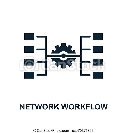 Network Workflow icon. Monochrome style design from big data icon collection. UI. Pixel perfect simple pictogram network workflow icon. Web design, apps, software, print usage. - csp70871382
