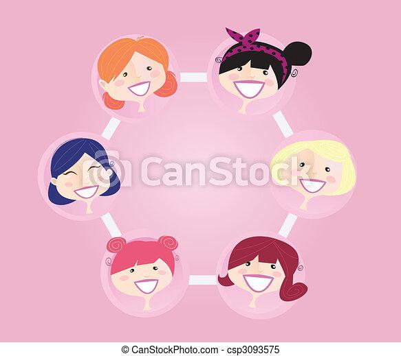 networking, groep, vrouwen - csp3093575