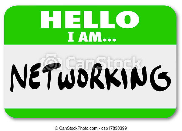 Networking Nametag Sticker Meeting People Making Connections - csp17830399