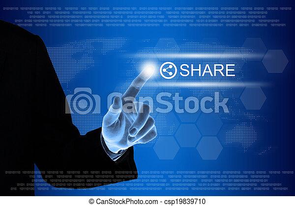 networking, zakelijk, knoop het duwen, aandeel, hand, beroeren, sociaal, interface, scherm - csp19839710