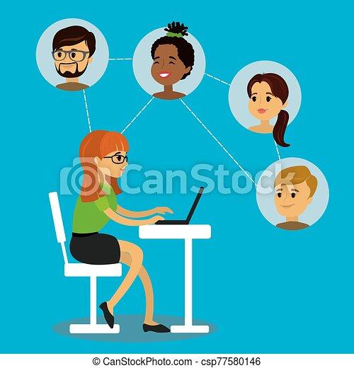 networks., social, femme, caucasien, communique, adolescent - csp77580146