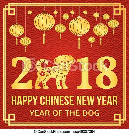 Neu , glücklich, 2018, chinesisches , jahr. Website, gruß ...