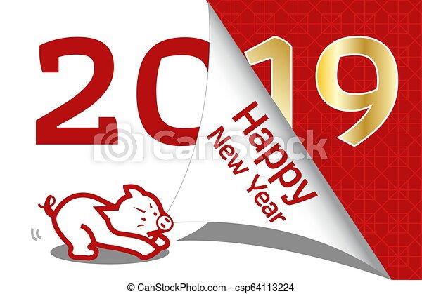neu , glücklich, 2019, chinesisches , jahr - csp64113224