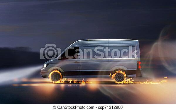 Una furgoneta de reparto rápida con neumáticos quemados - csp71312900