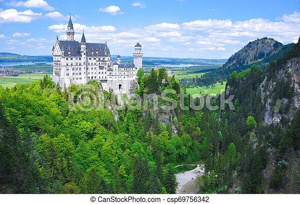 Neuschwanstein Castle at the Summer, Bavaria, Germany - csp69756342