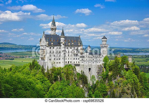 Neuschwanstein Castle at the Summer, Bavaria, Germany - csp69835526