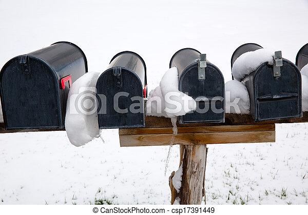 nevada, caixas postais, eua, neve - csp17391449