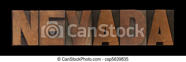 Nevada in old wood type - csp5639835
