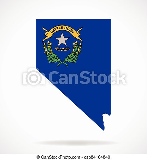 nevada nv map shape with state flag vector - csp84164840