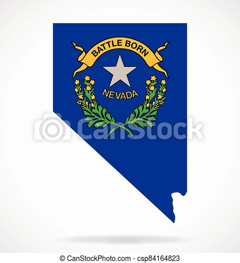 nevada nv map shape with state flag crest vector - csp84164823