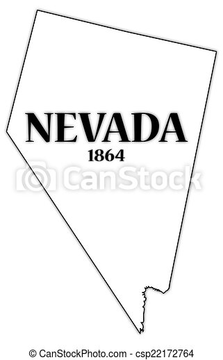 Nevada State And Date A Nevada State Outline With The Date Of Statehood Isolated On A White Background