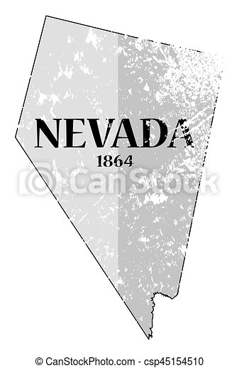 Nevada State And Date Grunged A Grunged Nevada State Outline With The Date Of Statehood Isolated On A White Background