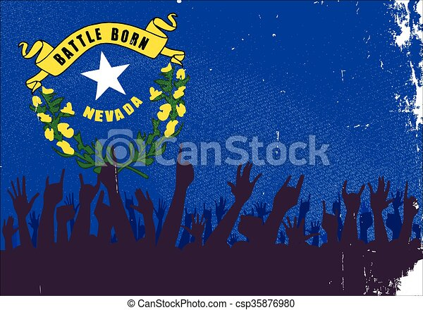 Nevada State Flag with Audience - csp35876980