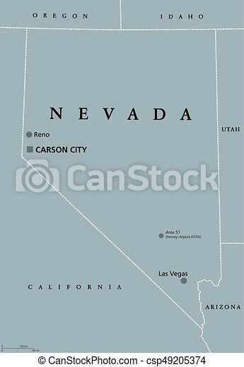 Political Map Of Nevada.Nevada United States Political Map Nevada Political Map With Las