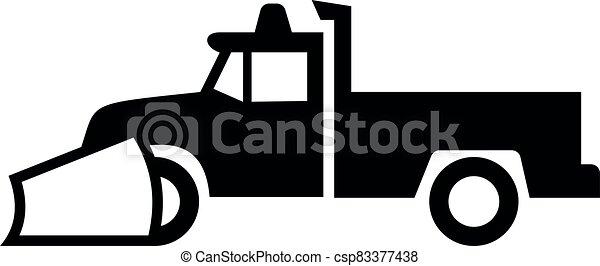 neve branco, pretas, sinal caminhão, arado, pick-up, ícone - csp83377438