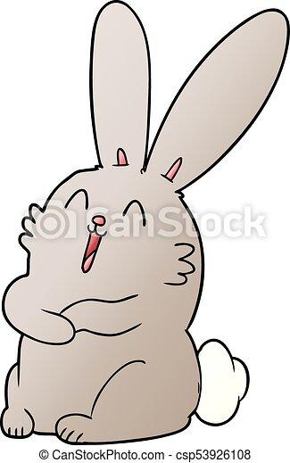 nevető, nyuszi nyúl, karikatúra - csp53926108