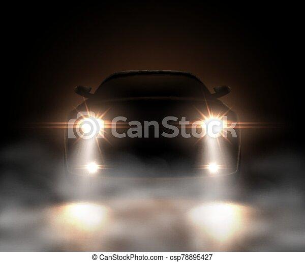 nevoeiro, realístico, car, luzes - csp78895427