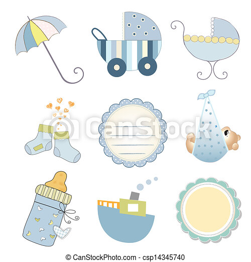 9597d6586 New baby boy items set isolated on white background