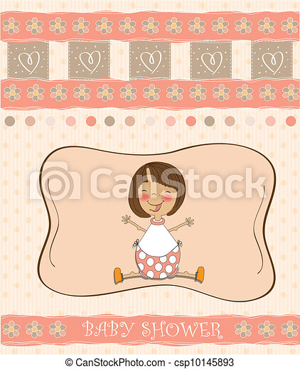 new baby girl shower card with girl - csp10145893