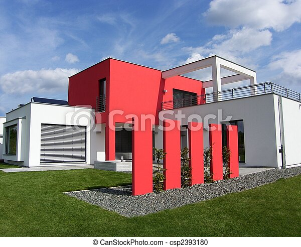 new beautiful european bungalow - red and white - luxhaus - csp2393180