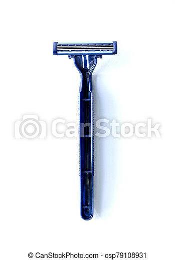 new blue blade razor on white background - csp79108931