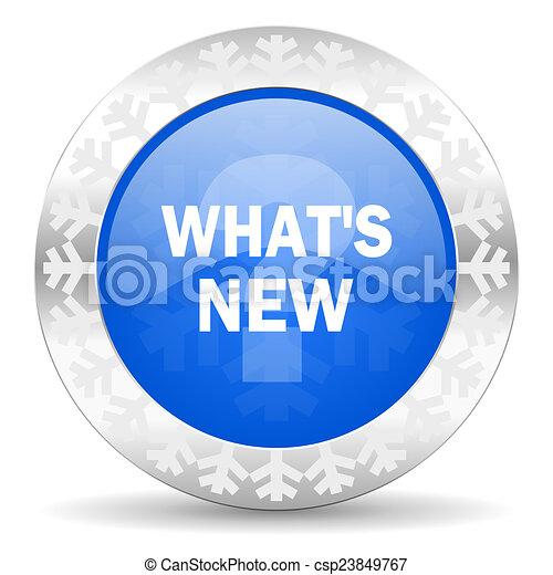 new blue icon, christmas button - csp23849767