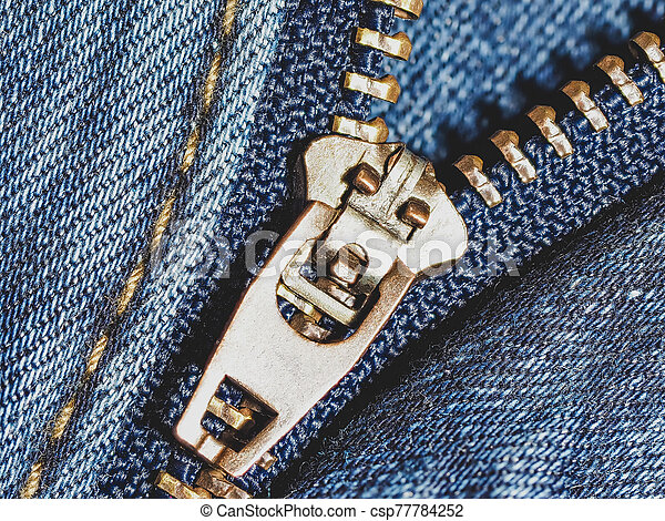 New blue jeans close up - csp77784252