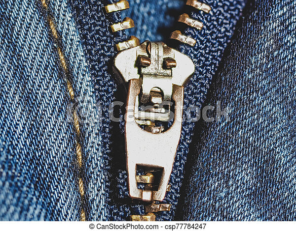 New blue jeans close up - csp77784247