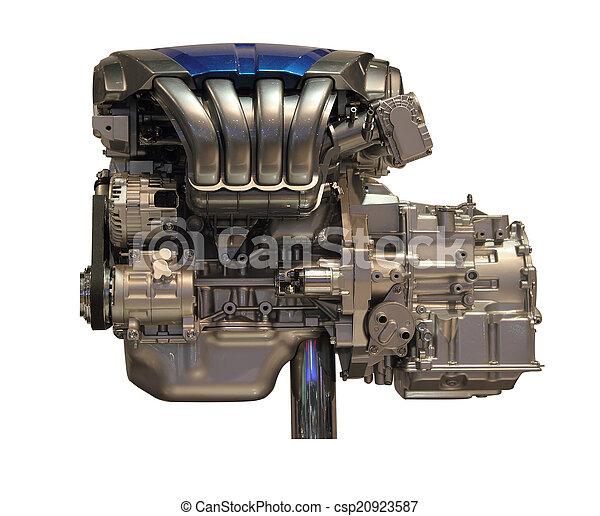 new car engine isolated on white background - csp20923587
