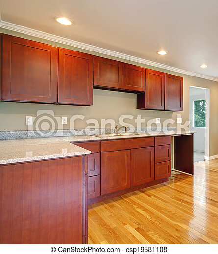 New cherry wood cabinet kitchen. - csp19581108