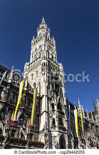 New city hall of Munich at Marienplatz, Germany, 2015 - csp29442055