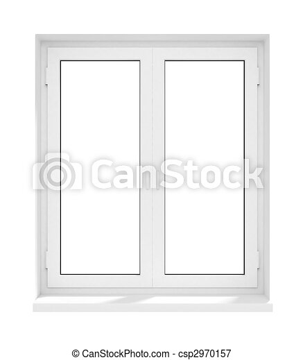 New closed plastic glass window frame isolated on the white ...