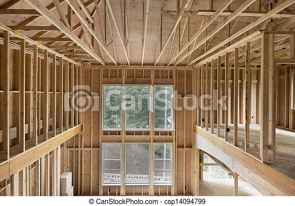New Construction Home High Ceiling Wood Stud Framing - csp14094799