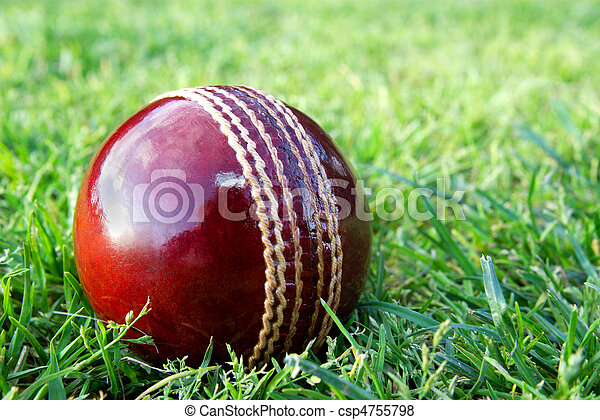 New cricket ball on grass. - csp4755798