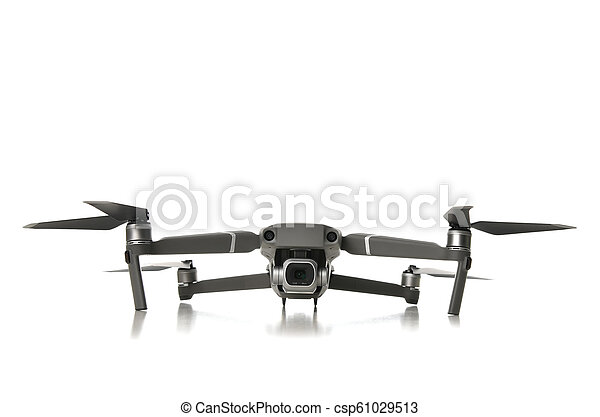 New drone quadcopter with digital camera isolated on white - csp61029513