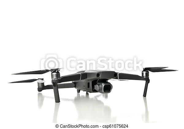 New drone quadcopter with digital camera isolated on white - csp61075624