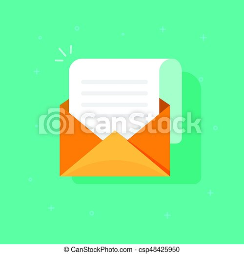 New email message icon, flat carton envelope with open mail correspondence, e-mail letter clipart - csp48425950