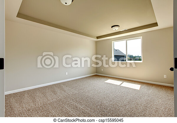 New empty room with beige carpet new house development in stock