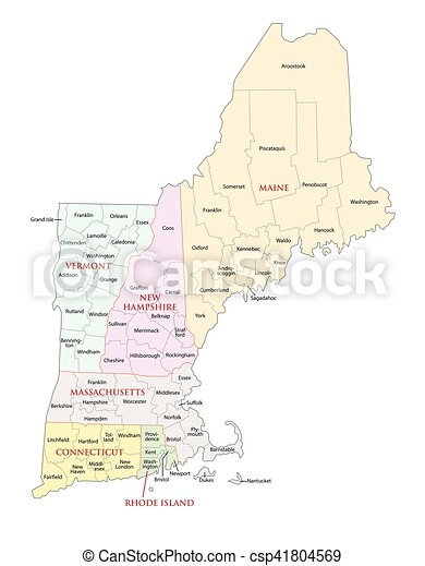 New england states administrative map. New england states ...