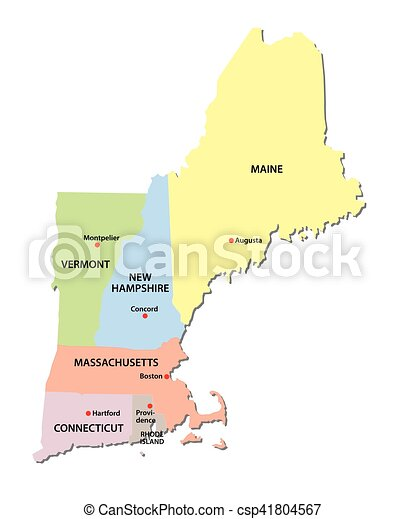 New england states map. New england states vector map.