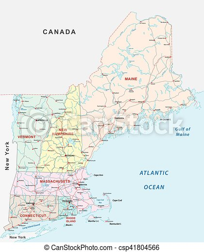 New england states road map. New england states road vector map.
