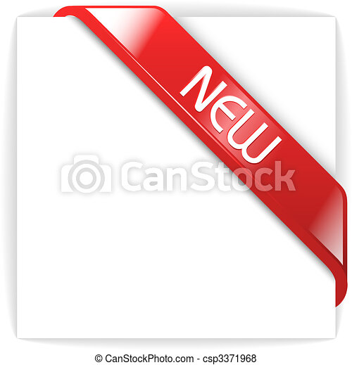 New glassy red corner ribbon - csp3371968
