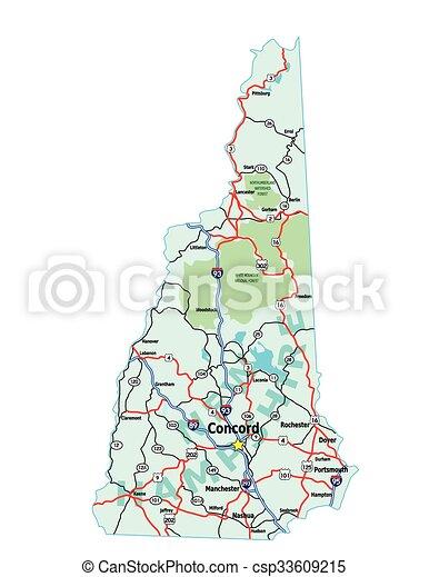 New Hampshire Map - csp33609215