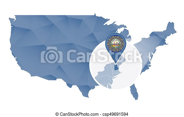 New Hampshire State Magnified On United States Map Abstract Usa Map