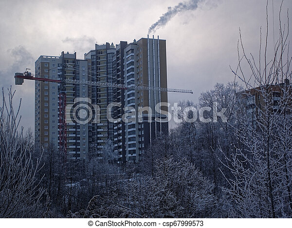 new high-rise buildings in a small town in winter - csp67999573
