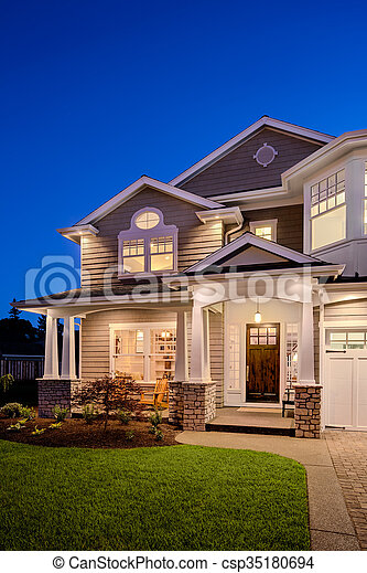 New Home At Night Beautiful New England Style Home Exterior At