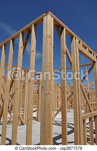New Home Under Construction Close Up - csp3871578